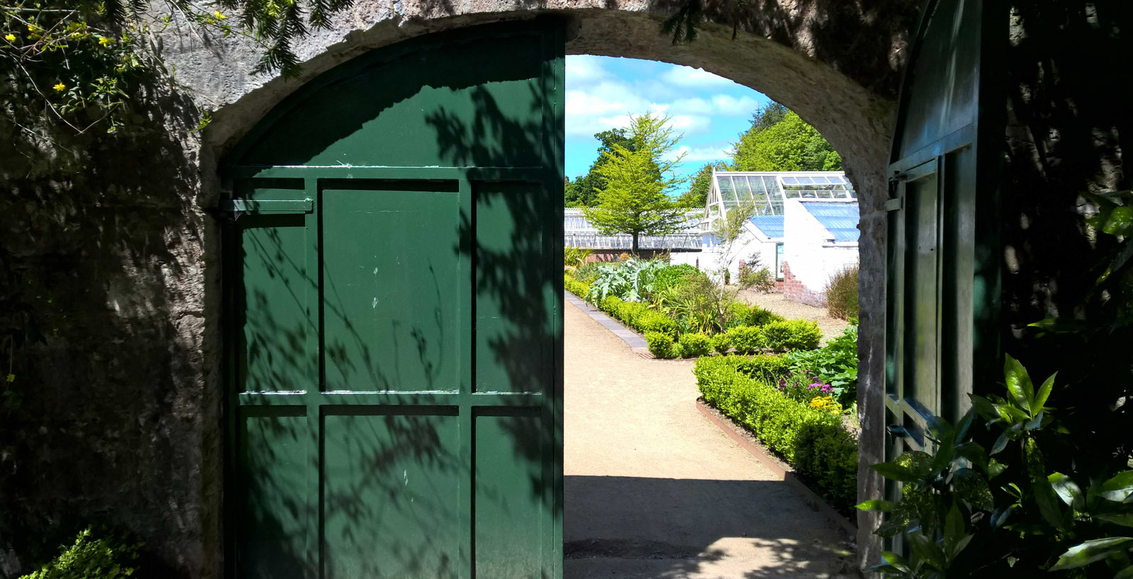 The Fota Frameyard seen beyond a half open gate