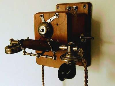 The wall-mounted telephone at Strokestown Park